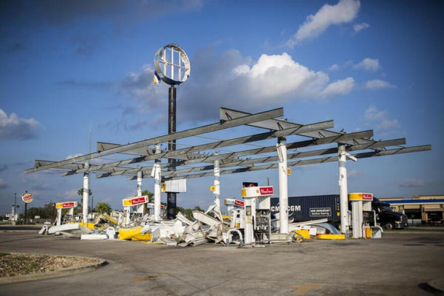 A Shell gas station in Refugio sustained heavy damage from Hurricane Harvey.