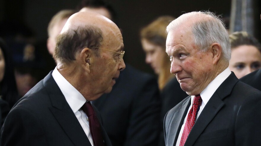 Commerce Secretary Wilbur Ross (left) and U.S. Attorney General Jeff Sessions, seen in February, spoke about adding a citizenship question to the 2020 census in the spring of 2017, according to a new court filing.