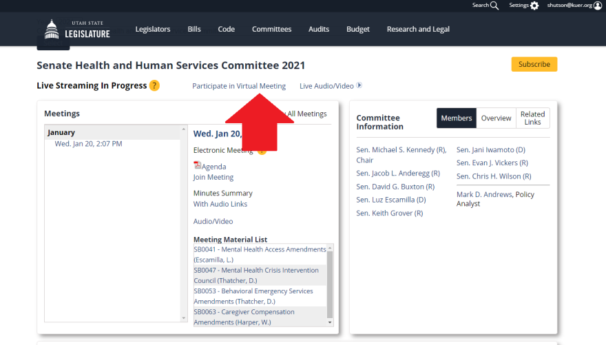 A photo of  where to find the link to join a committee meeting Zoom call.