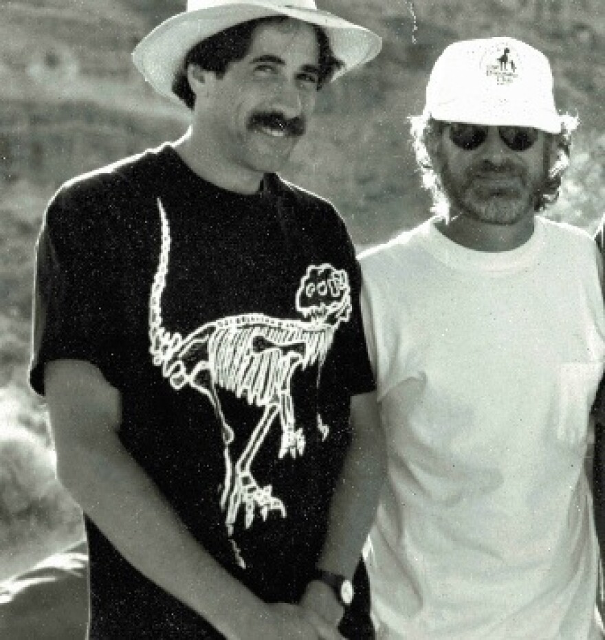 """Don Lessem (left) stands beside Steven Spielberg on the set of <em>Jurassic Park</em>. During filming, Lessem was the dinosaur adviser. He's since written numerous kids' books on dinosaurs, and answered questions in his """"Dino Don"""" column in <em>Highlights for Children.</em>"""