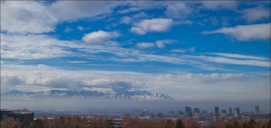 A photo of smog over downtown Salt Lake City.