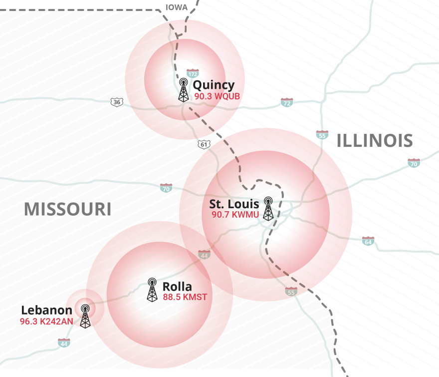 Map depicting circles of signal reach