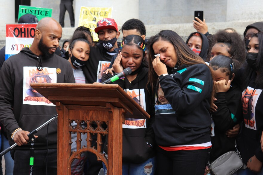 Casey Goodson Jr.'s mother and sister cry during the protest in December.
