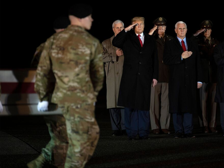 President Trump and Vice President Pence observe the dignified transfer of two U.S. soldiers, killed in Afghanistan, at Dover Air Force Base.