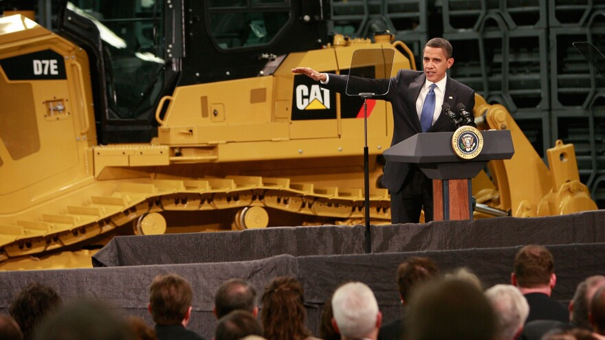 President Obama speaks to workers at a Caterpillar plant about creating jobs and stimulating the economy on Feb. 12, 2009, in East Peoria, Ill. Stung by the global recession, Caterpillar had announced in January it would cut more than 20,000 jobs.