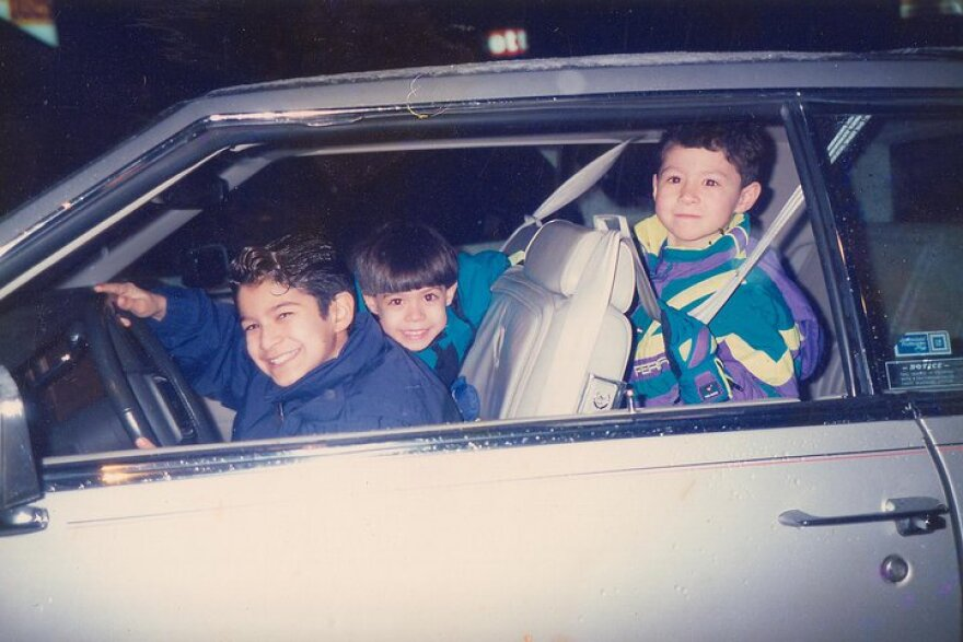 Jeff Rodriguez, in the drivers seat, is the oldest brother of three.