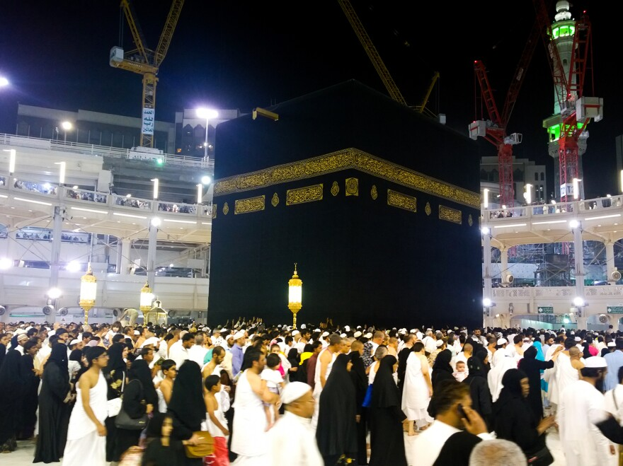 Muslims circle the Kaaba, located in the Great Mosque in Mecca, Saudi Arabia, as part of their Islamic pilgrimage.