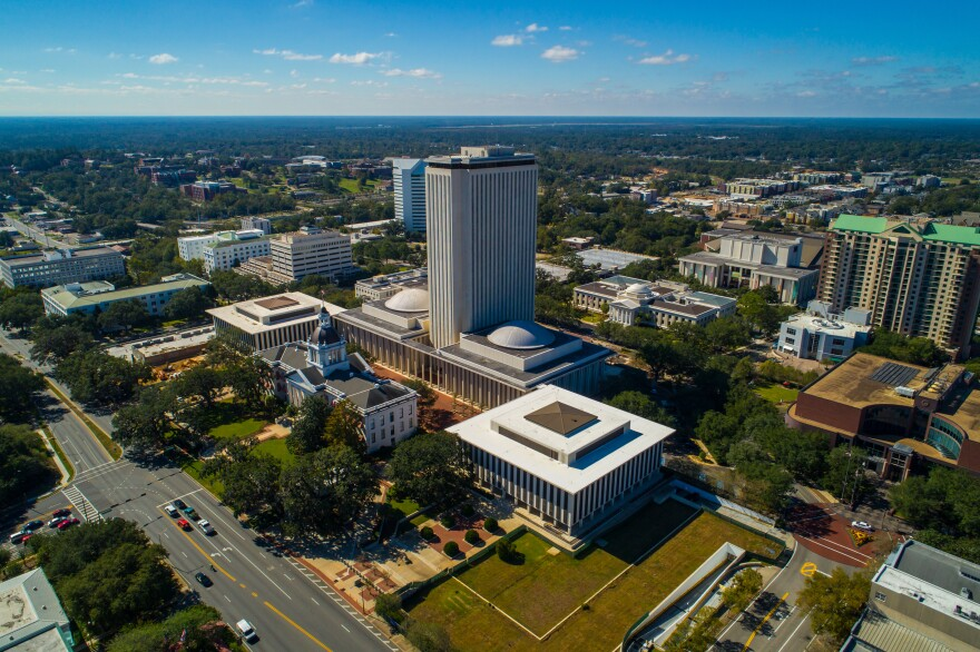 Aerial image of the State Capitol Building in Tallahassee, Florida.