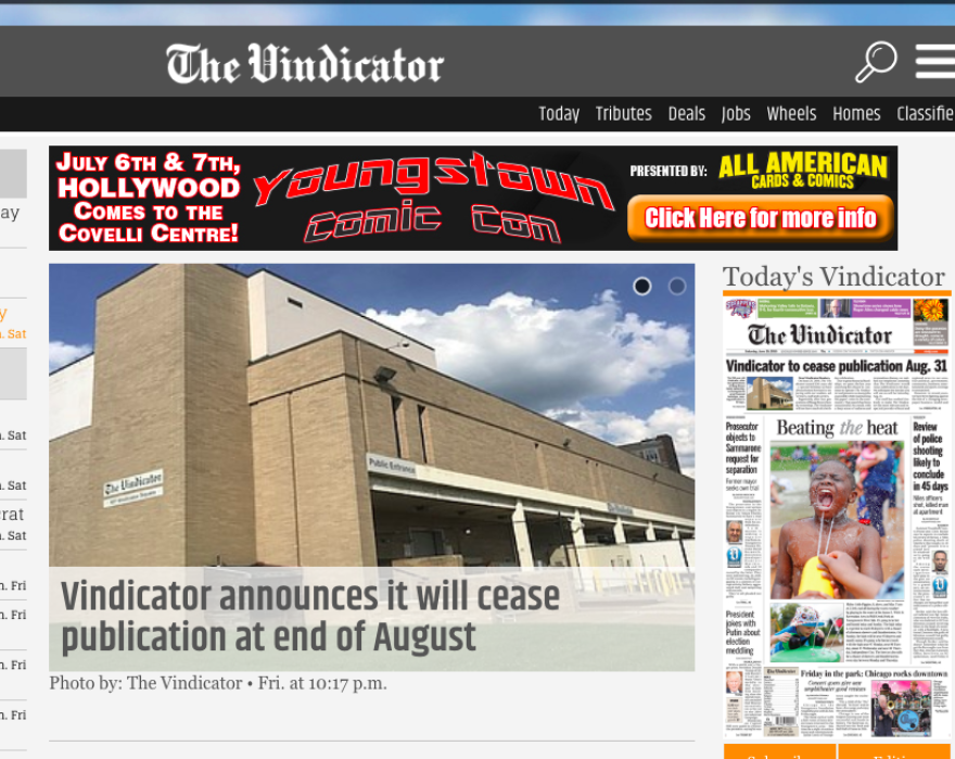 screen capture of vindy.com with news the Vindicator will cease production