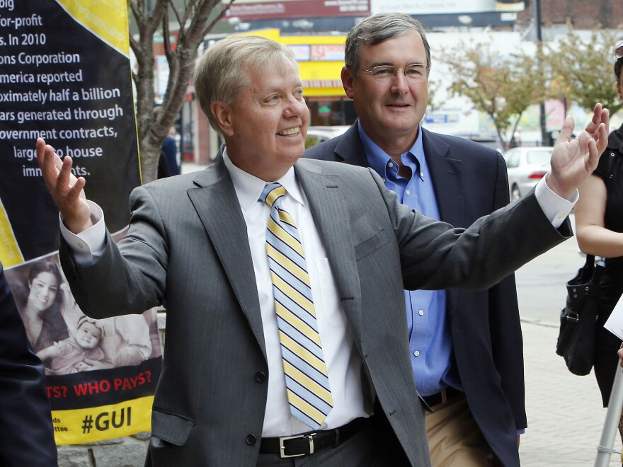 Sen. Lindsey Graham, R-S.C., toured Manchester, N.H., on Friday. On Saturday, he spoke at the Republican Party of Iowa's Lincoln Day Dinner.