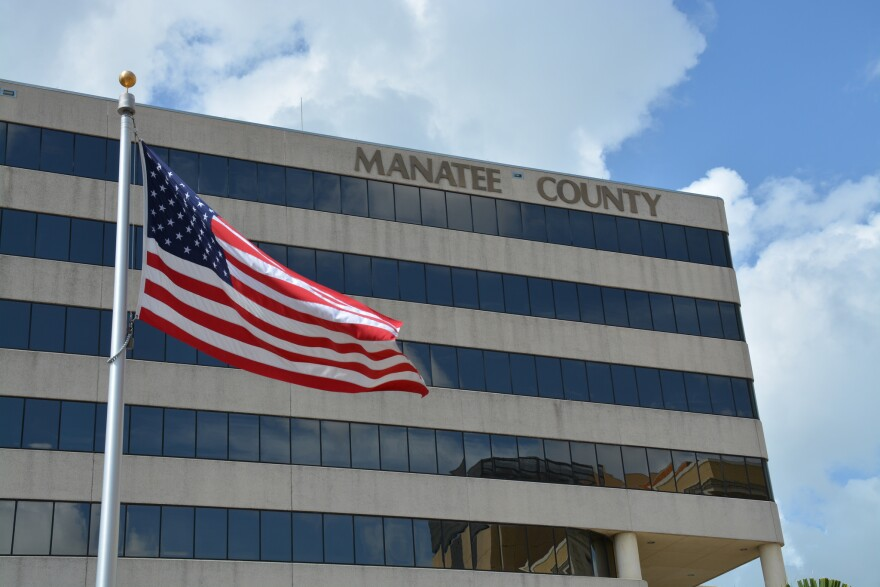 Manatee County administration bulding with an American Flag