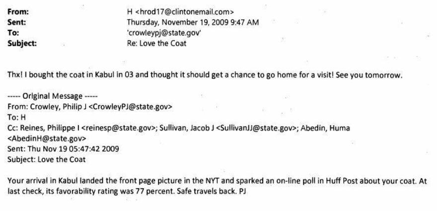 """Clinton: """"Thx! I bought the coat in Kabul"""""""
