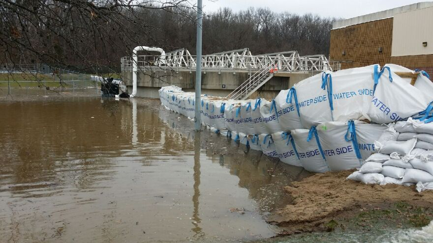 MSD staff placed sandbags at Grand Glaize Wastewater Treatment Plant in Valley Park all day Tuesday and Wednesday to keep the flood waters out and keep the plant in operation.