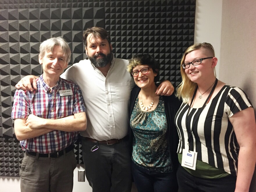 Florida Matters host Carson Cooper (left), Darrin Potter with GrowHealthy, medical cannabis patient Jamie Howe and Health News Florida reporter Daylina Miller.
