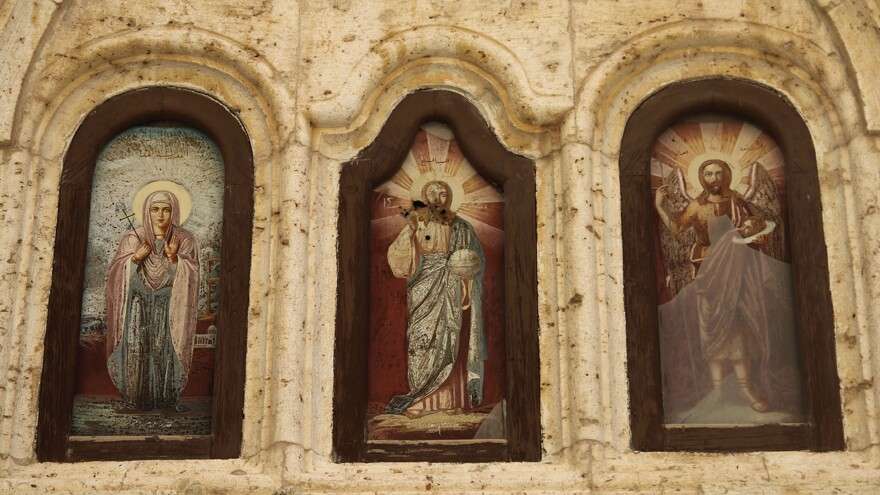 Christian icons damaged by fighting are seen in a monastery in the village of Maaloula, north of Damascus, Syria. U.S. evangelicals are concerned that a pullout of U.S. troops will leave Syrian Christians vulnerable to attack.