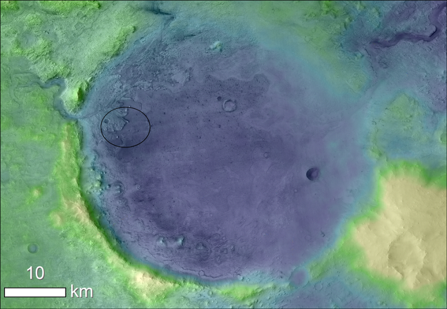 Lighter colors represent higher elevation in this image of Jezero Crater on Mars, the landing site for NASA's Mars 2020 mission. The circle represents where the Perseverance rover is expected to land.