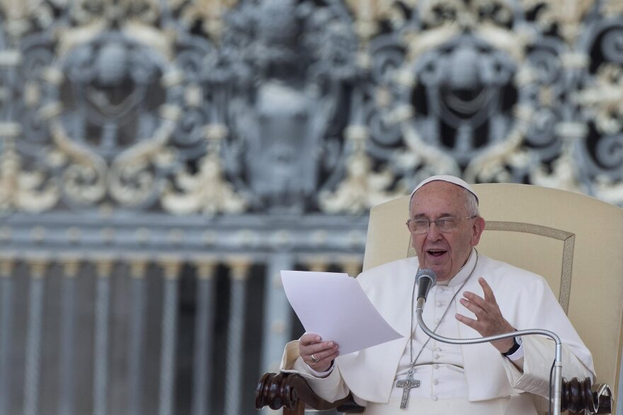 Pope Francis delivers a speech Wednesday during his general audience at Saint Peter's Square in Vatican City.