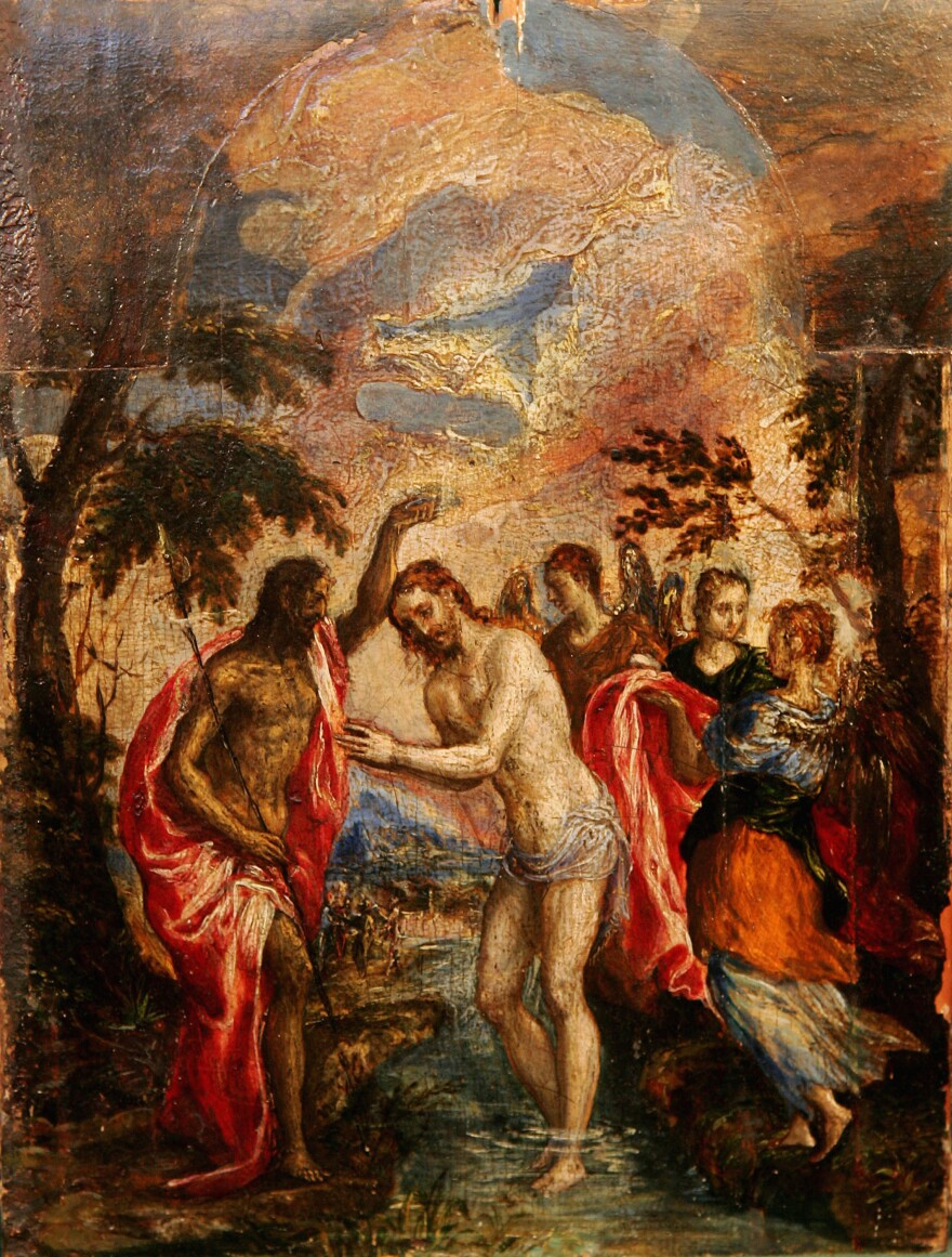 <em>The Baptism of Christ</em> by Domenikos Theotokopoulos, commonly known as El Greco is displayed at Christies auctioneers in London in 2004.