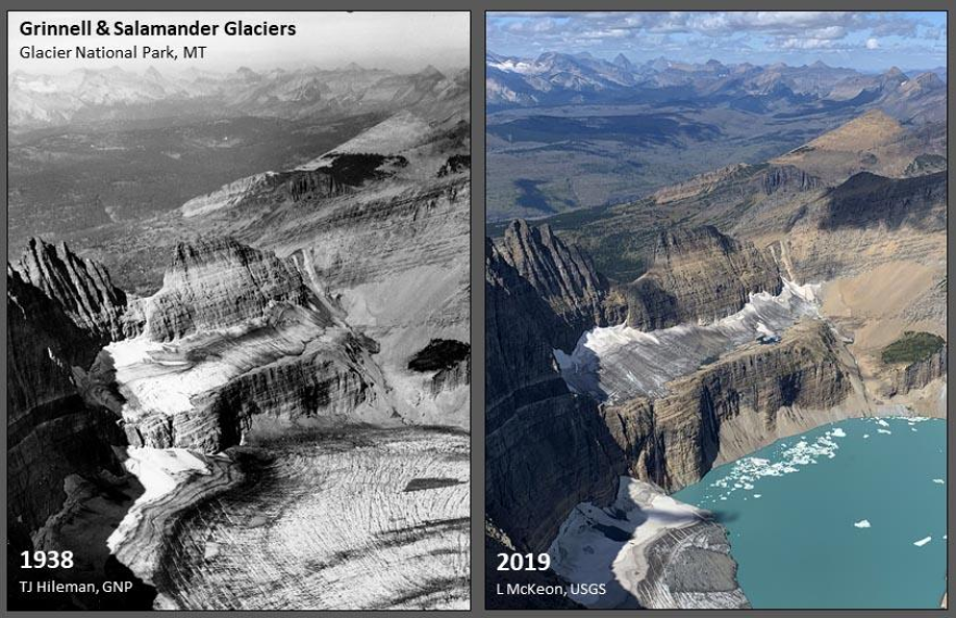 Climate science conducted by the USGS, such as its repeat photography of glaciers in Glacier National Park, an example of which is shown here, could be threatened by the Trump administration's budget proposal for the Department of Interior.