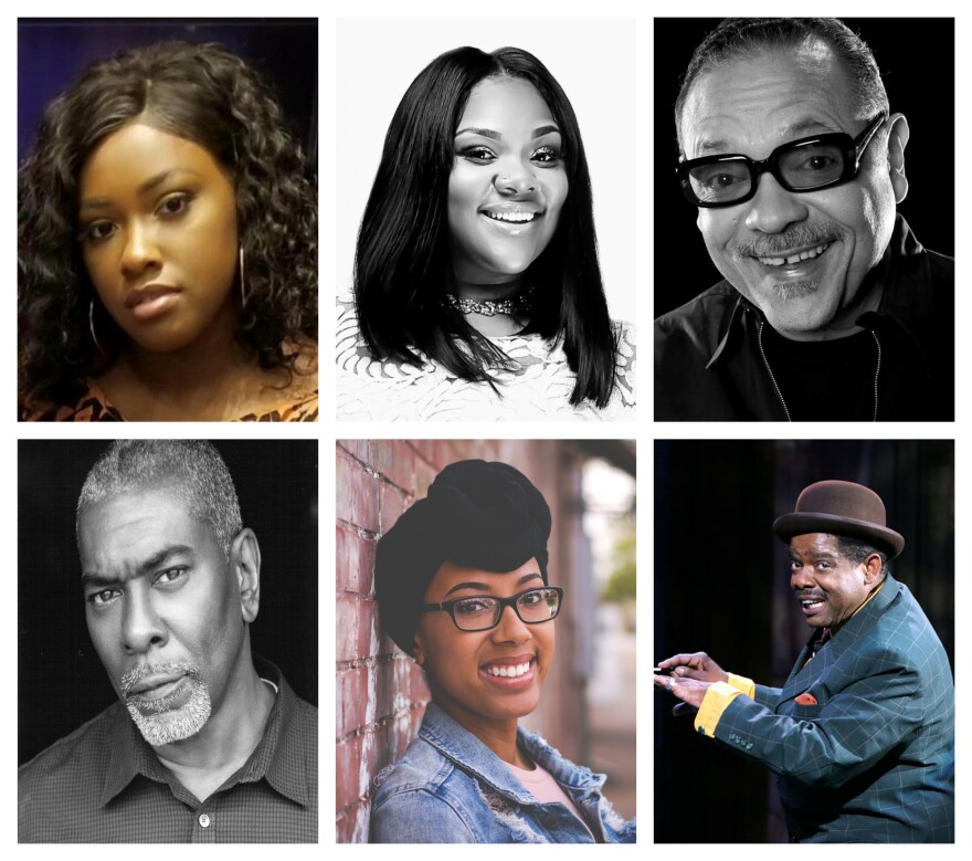 "The Black Rep will present a six-person performance of Fats Waller's ""Black and Blue"" from the National Blues Museum. Clockwise from upper left: Alexis Mason, Amber Rose, Charles Creath, Drummond Crenshaw, Tyler White and J. Samuel Davis. [5/17/20]"