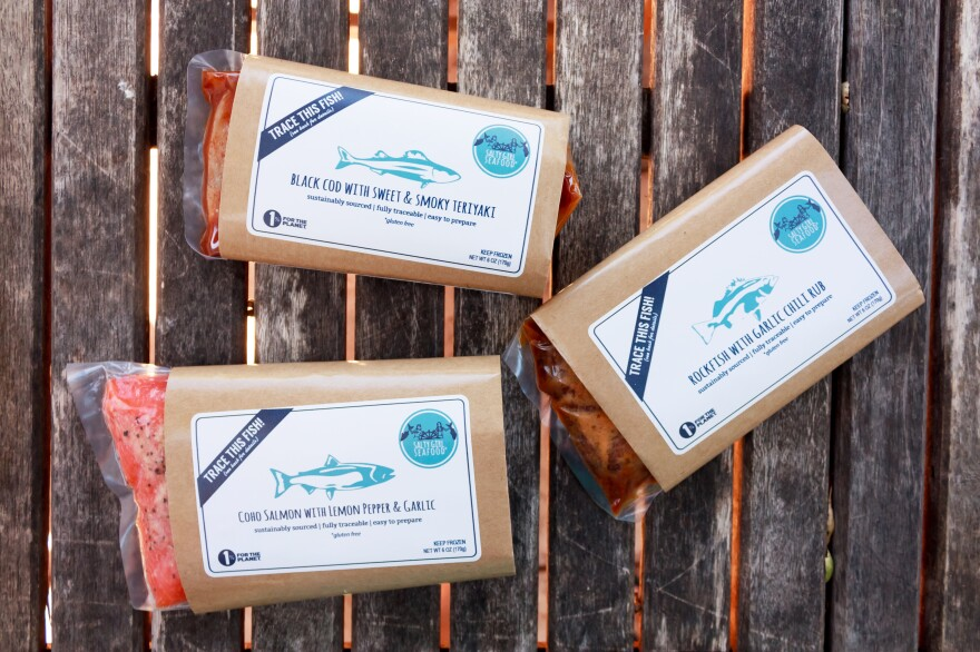 """Packaging for some of Salty Girl's marinated, ready-to-cook fish. The company sources its fish directly from California fishermen. Customers can <a href=""""http://www.saltygirlseafood.com/your-fish/"""">go online</a> to find out more about where their fish came from, who caught it and how, and other sustainability issues."""