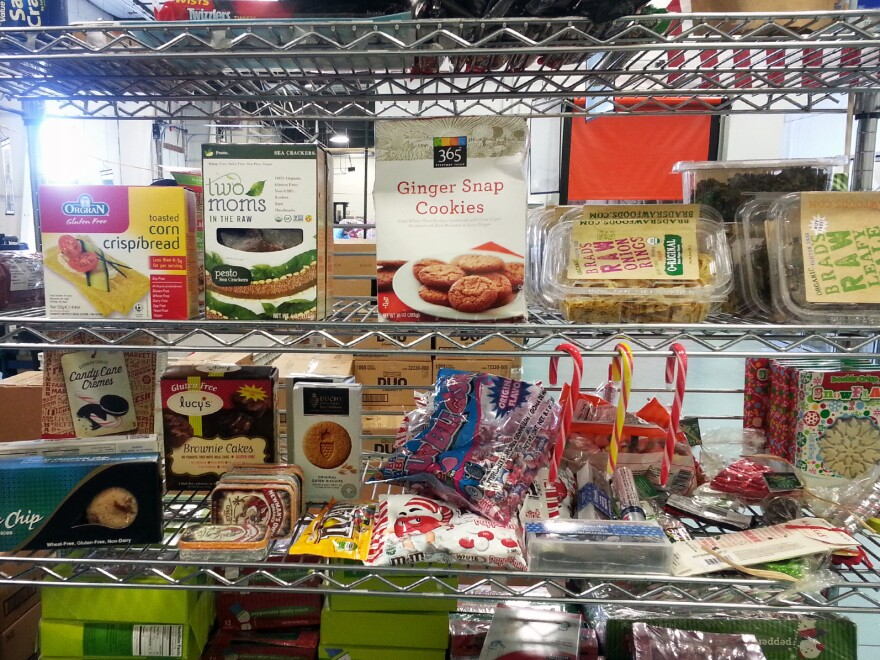 Gluten-free foods on the shelf at the Community Food Share in Louisville, Colo.