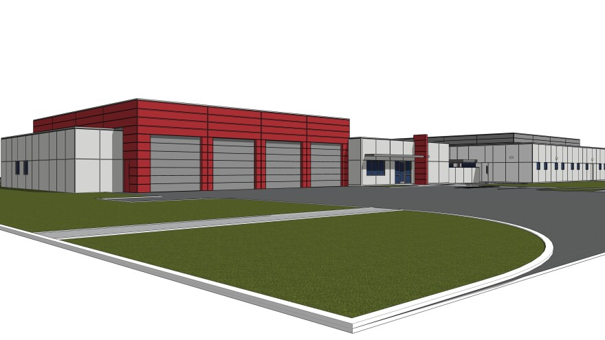 A design drawing for Fire Station 73 (left) and Jacksonville's new backup 911 emergency call center.