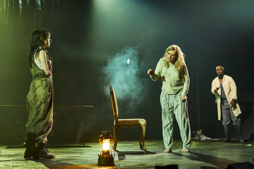 Nadia Albina as Gentlewoman, Anne-Marie Duff as Lady Macbeth and Michael Balogun as Doctor in <em>Macbeth</em> at the National Theatre in London.