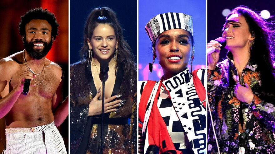 Childish Gambino (left) performs onstage during the 2018 iHeartRadio Music Festival. Rosalía speaks onstage during the 19th annual Latin GRAMMY Awards. Janelle Monae performs in Los Angeles in June and Kacey Musgraves performs at the 2018 Stagecoach Festival in April.
