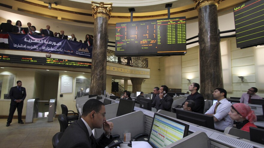 Egypt's stock market has been volatile since Hosni Mubarak was ousted. Though analysts say there are reasons for cautious optimism, concerns about the country's currency remain.