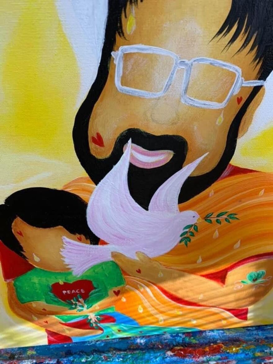 A painting of Ray Rodriguez.
