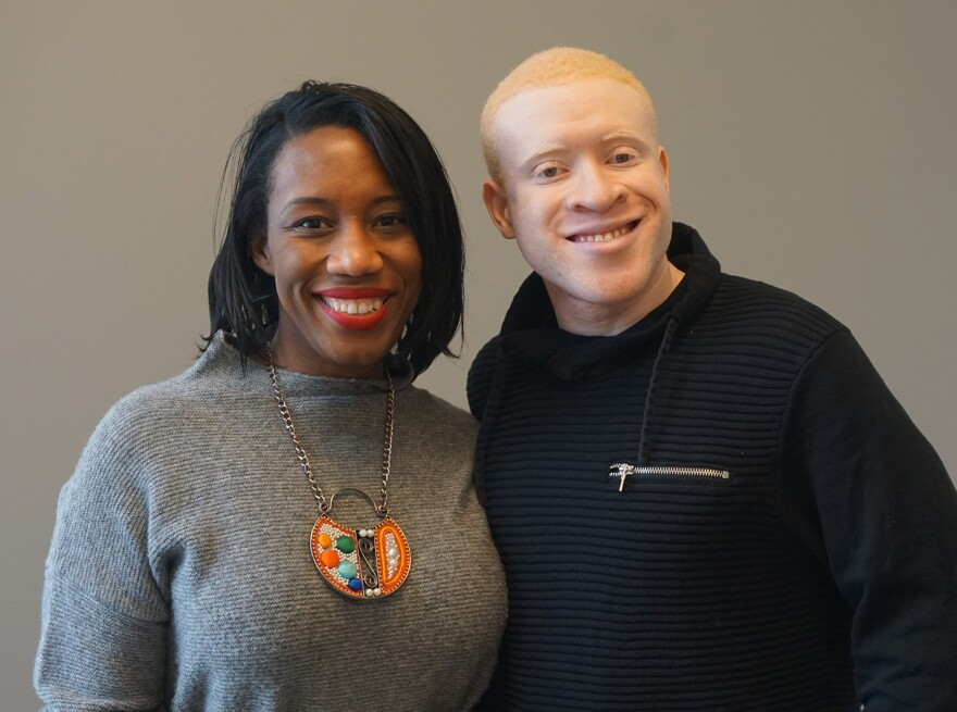 Jacqueline Thompson, at left, and Ernest Emmanuel Peeples joined Tuesday's talk show.
