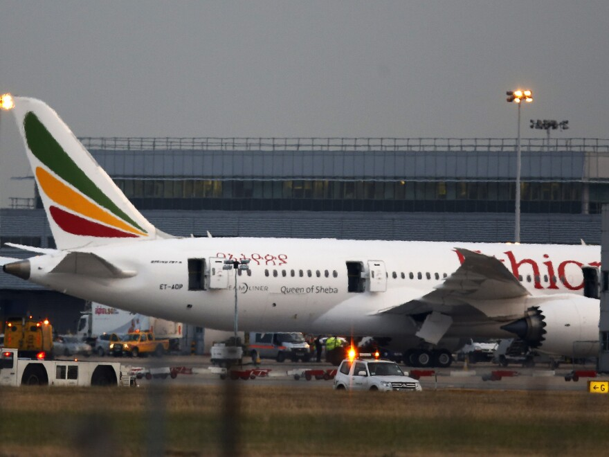 View of the Ethiopian Airlines Boeing 787 Dreamliner that caught fire on the runway near Terminal 3 at Heathrow Airport, London on Friday.