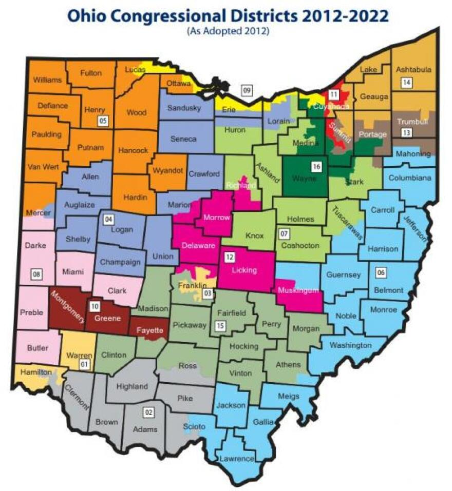 Map of congressional districts in Ohio.