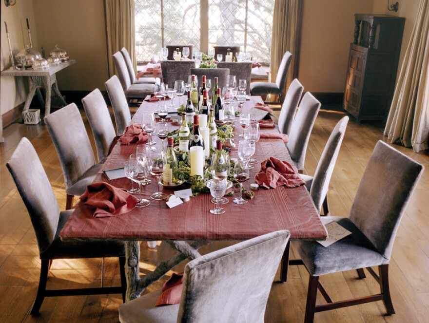 """The aftermath of Stewart's burgundy dinner is documented in <em>Martha's Entertaining</em>. <a href=""""http://ow.ly/7MQhh"""">Click here to see a Q&A about entertaining on<em> The Martha Stewart Show.</em></a>"""