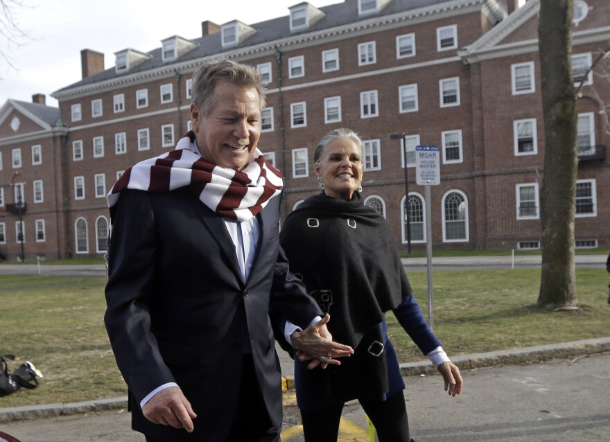 <em>Love Story</em> stars Ryan O'Neal and Ali MacGraw walk on the campus of Harvard University in Cambridge, Mass., in February 2016.