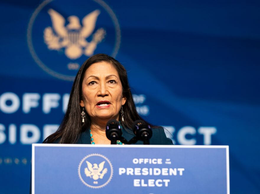 Rep. Deb Haaland delivers remarks after being introduced as President-elect Joe Biden's nominee to be the next secretary of interior.