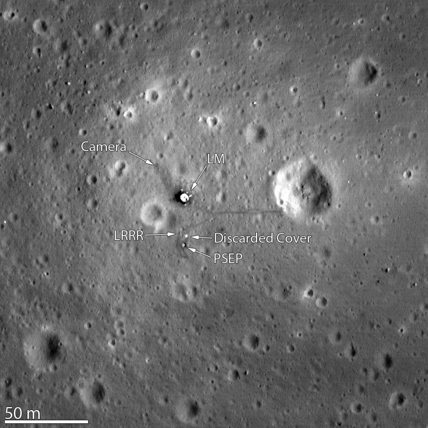 NASA image taken in 2012 by the Lunar Reconnaissance Orbiter (LRO) shows astronauts' footprints and equipment left on the moon by Apollo 11.