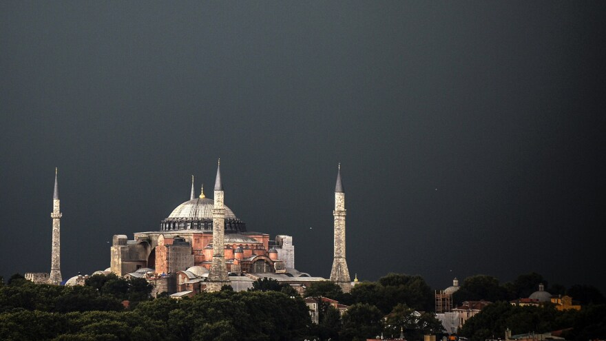 The Hagia Sophia is one of the city's most well-known Byzantine monuments, but it's also home to a lesser-known memorial: a plaque for the man who encouraged the Fourth Crusade's plundering of the city.