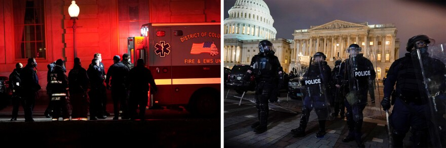 Left: A person on a stretcher is loaded into an ambulance outside the Capitol on Wednesday. Right: Authorities remove people from the Capitol.