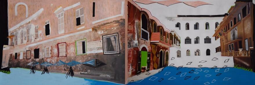 """]Senegalese artist Modou Dieng's work titled, """"la rue du fleuve,"""" references scenes near his childhood home in Saint-Louis, Senegal."""