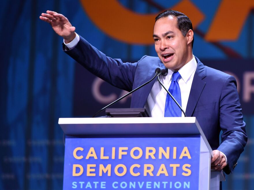 Democratic presidential candidate Julian Castro speaks during the 2019 California Democratic Party State Convention in San Francisco on June 2. Castro, a former HUD secretary, has laid out a major affordable housing plan.