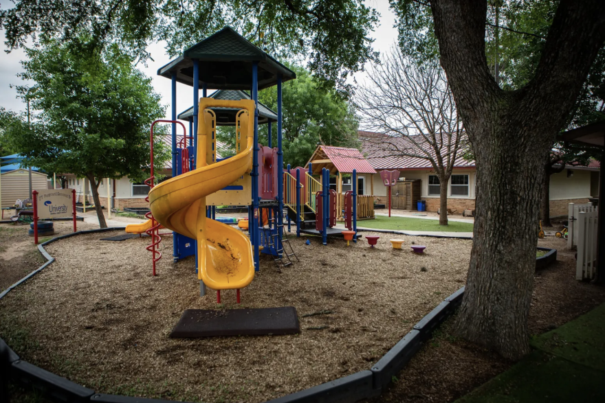 An empty playground at the University of Texas Child Development Center in Austin.