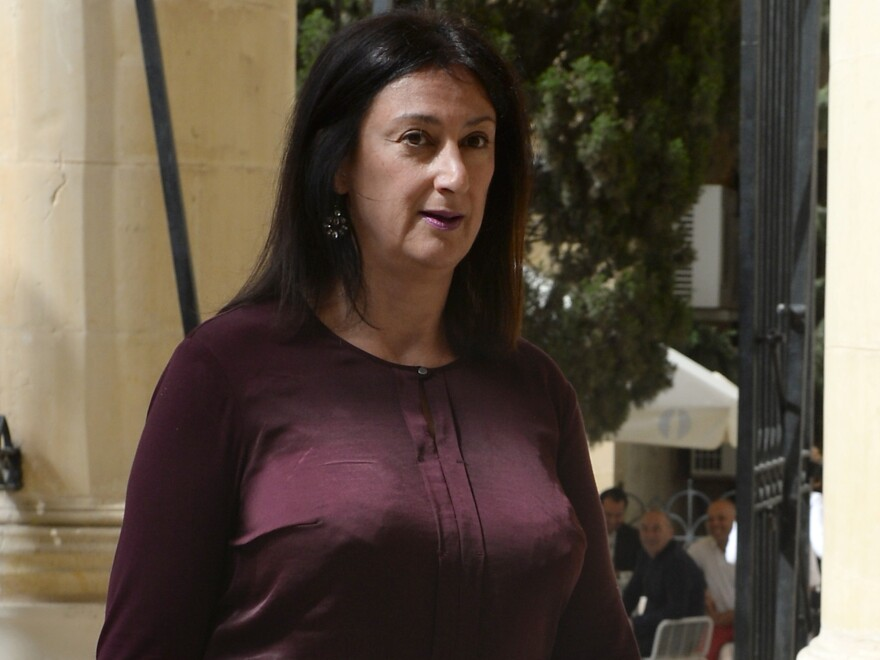 Daphne Caruana Galizia, seen earlier this year outside a courthouse in Malta. A car bomb killed the journalist Tuesday.