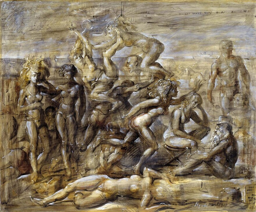 Ashcan School painter Reginald Marsh taught Sara Roby, who was an amateur artist. Above, Marsh's 1951 work, <em>Coney Island Beach.</em>