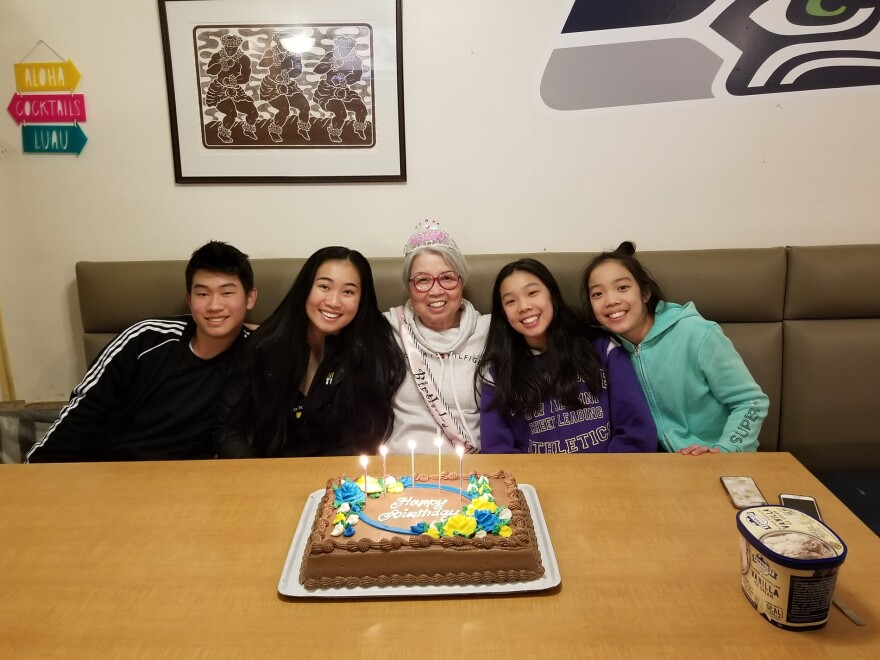 From left: Roman Mar, Milan Mar, Elizabeth Mar, Keilee Okumoto and Emi Okumoto at Elizabeth's restaurant, Kona Kitchen, on Elizabeth's 71st birthday on March 15, 2019.