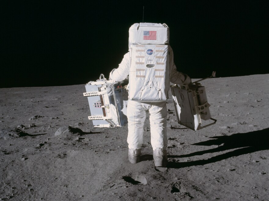 Astronaut Buzz Aldrin on the surface of the moon during the Apollo 11 mission.