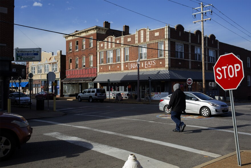 A man crosses the street in Dutchtown on November 22, 2019.