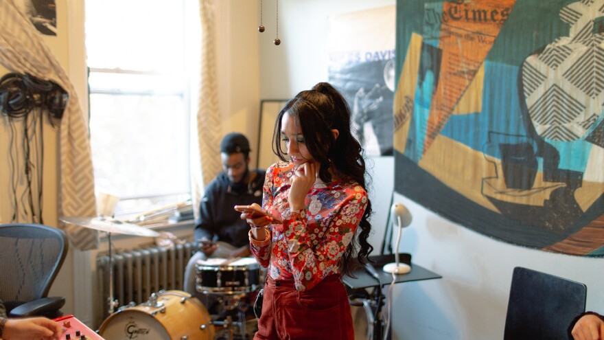 Raveena rehearses with drummer Tyler Newson and the rest of her band in Brooklyn, N.Y.