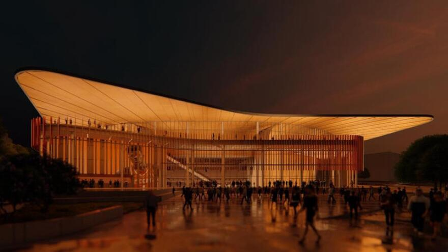 Artist rendering of the Moody Arena to be built on the UT campus.